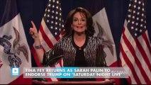 Tina Fey Returns As Sarah Palin To Endorse Trump On 'Saturday Night Live'