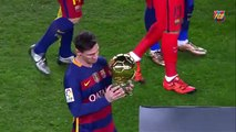 Messi offers the Ballon d'Or to the FC Barcelona supporters at Camp Nou (News World)