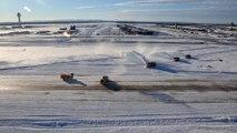 Aerial views of historic blizzard snowfall