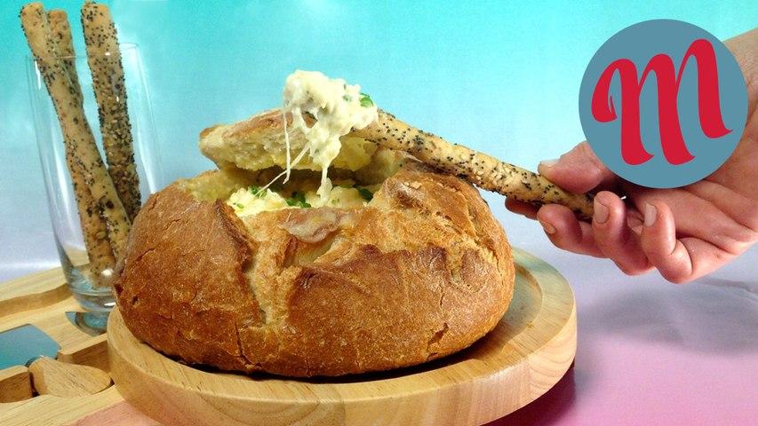 Pan relleno de quesos - Receta fácil y original