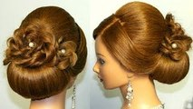 Wedding prom hairstyle for long hair, updo tutorial with braided flowers