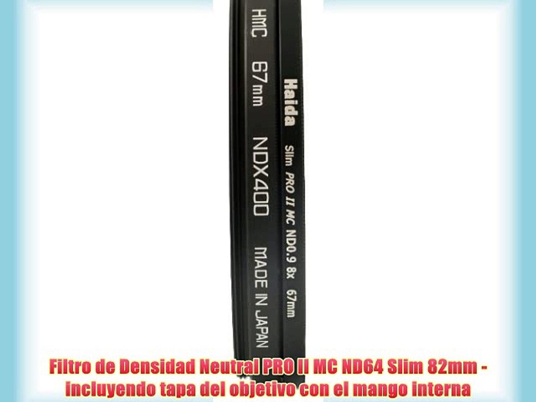 Filtro de Densidad Neutral ND64 Slim 58mm incluyendo tapa del objetivo con el mango interna