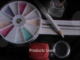 nail art tutorial with pearl nail art and lace nail art designs on cute pink nail polish