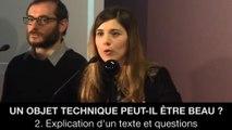 Un objet technique peut-il être beau ? : 2. Explication d'un texte et questions, Pauline NADRIGNY