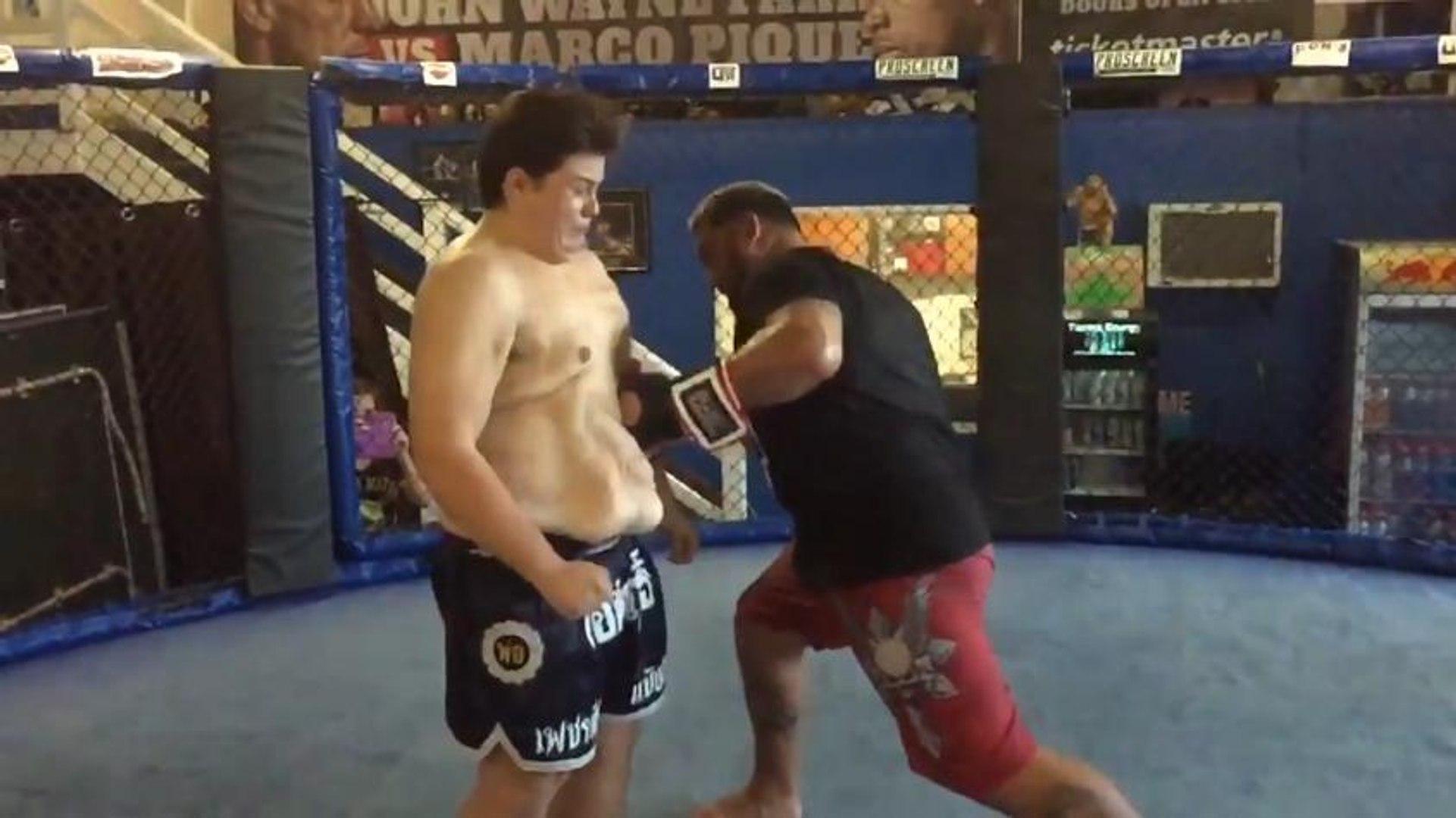 Peso pesado do UFC deforma barriga de 'gordinho' com soco
