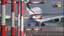 Hard A380 Crosswind Landing in Duesseldorf at RWY 05R - Emirates A6-EER  Crosswind Landing