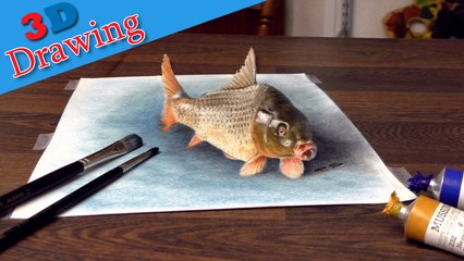 Drawing in 3D of realistic common carp/ dibujar bien paso a paso desenho
