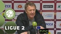 Conférence de presse AC Ajaccio - Stade Brestois 29 (2-1) : Olivier PANTALONI (ACA) - Alex  DUPONT (BREST) - 2015/2016