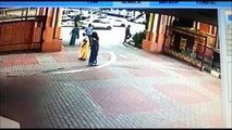 Chain Snatching Captured On CCTV : Thief on bike Snatches Womans Ornament