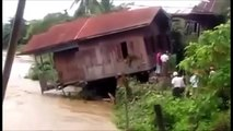 Myanmar Flood Video House Falls Off Bank Into Raging River
