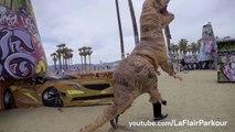 JURASSIC PARKOUR- T-Rex Does Parkour at Beach