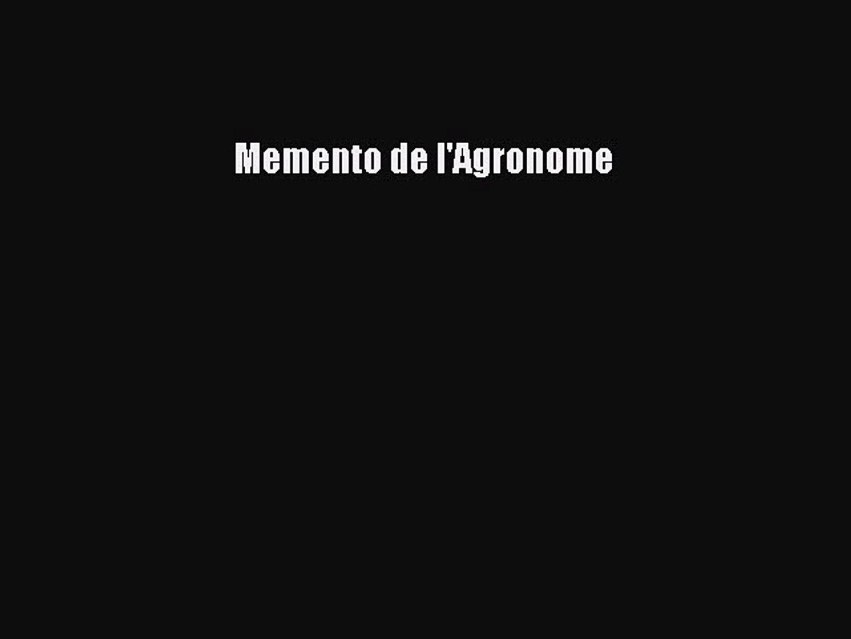 MEMENTO DE GRATUIT TÉLÉCHARGER LAGRONOME