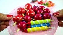 VELCRO à la DÉCORATION de GÂTEAU de Coupe Jouet Set de Couteau en Bois de Cerisier Fraises des Bougies