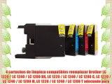 4 cartuchos de limpieza compatibles reemplazar Brother LC 1220 / LC 1240 / LC 1280 BK LC 1220