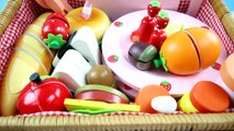 PANIER de pique-NIQUE Velcro Coupe Jouet Set en Bois de la Baguette Légumes Fruits Plaques