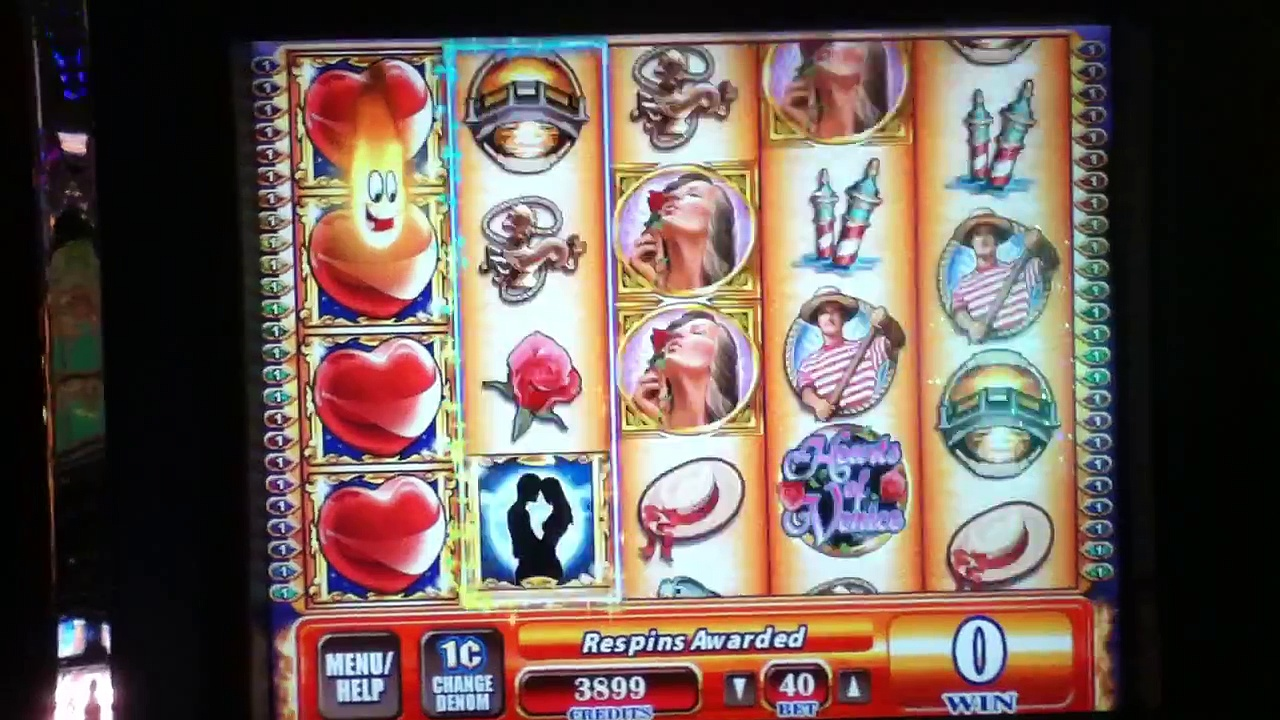 HEARTS OF VENICE Penny Video Slot Machine with SUPER RESPINS and BIG WIN Las Vegas Casino