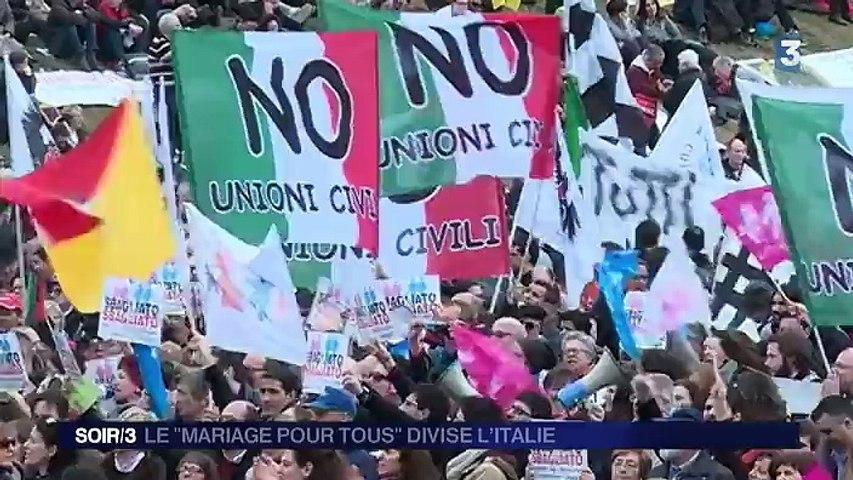 """La loi sur le """"mariage pour tous"""" divise en Italie"""