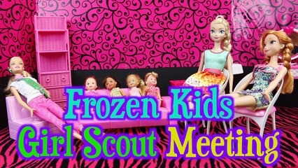 Frozen Kids Girl Scout Meeting with Barbie and Spiderman Girl Scout Leaders and Frozen Elsa Mom