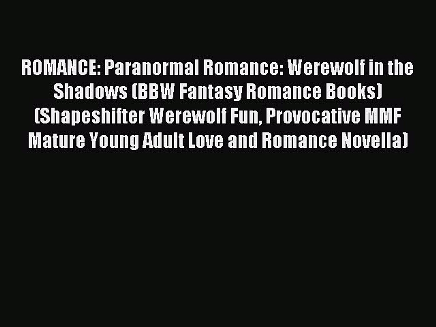 PDF Download) ROMANCE: Paranormal Romance: Werewolf in the
