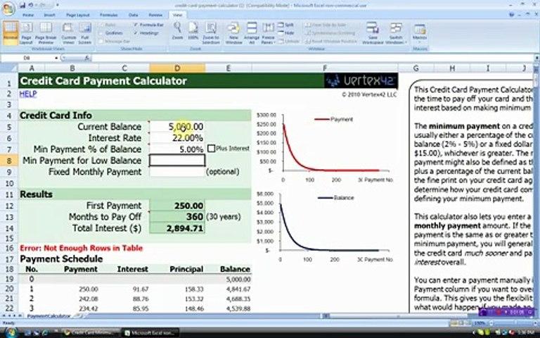 credit card payment calculator - vertex42
