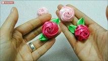 Diy ribbon roses, how to make satin ribbon roses,kanzashi roses tutorial