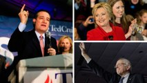 Cruz, Sanders and Clinton celebrate Iowa caucus results