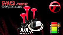 Trigger Horns™ EVAC3™ Triple Trumpet Train Horn Kit w/ Compressor - TRGH162