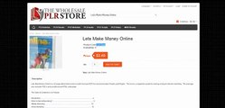 Lets Make Money Online The Wholesale PLR Store Preview