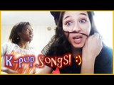 being silly with Whitney bad kpop singing/dancing