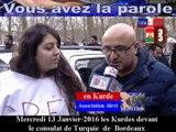 Télévision-Bordeaux-33 Les Kurdes de cenon devant me consulat de Turquie  pour dire non à la guerre  Alte  aux massacres la paix maintenant