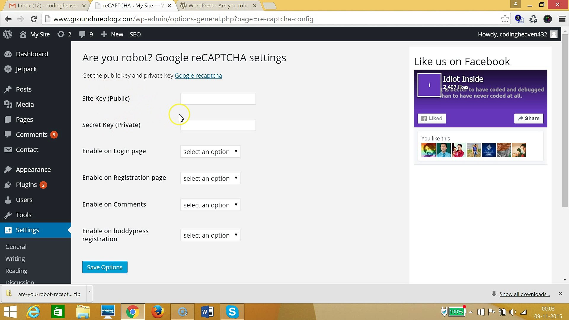 How to add Are You Robot Google recaptcha to Wordpress Login?