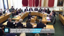 Bank of England unanimous on rate hold, cuts growth outlook