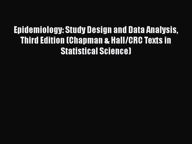 Epidemiology Third Edition Study Design and Data Analysis