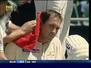 OUCH! JUSTIN LANGER vs NTINI a bit of batting fail really 2006