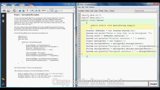 Blue Pelican Java Lesson 17 Project - Encrypt - Decrypt