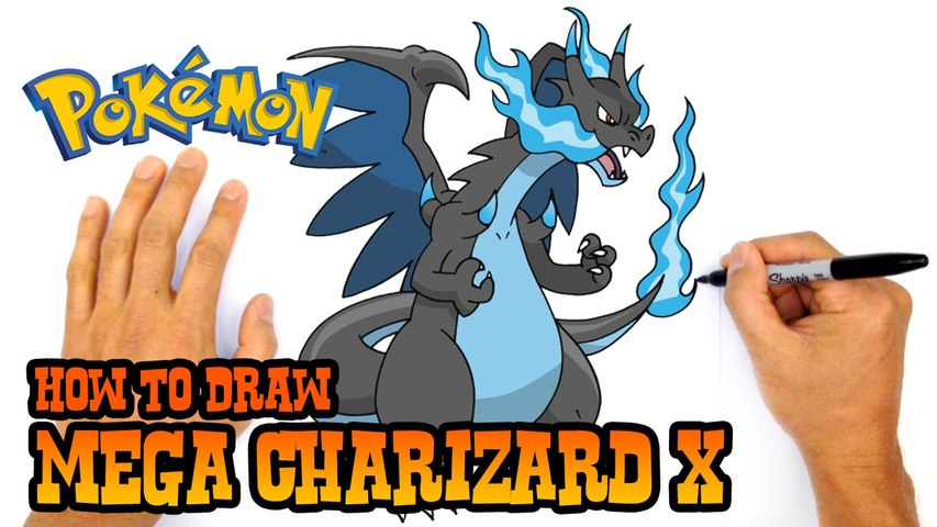 How to Draw Mega Charizard X- Pokemon- Step by Step Lesson
