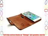 Tuff-Luv funda/cartera en piel 'Vintage' para Apple iPhone 6s (con protector de pantalla) -