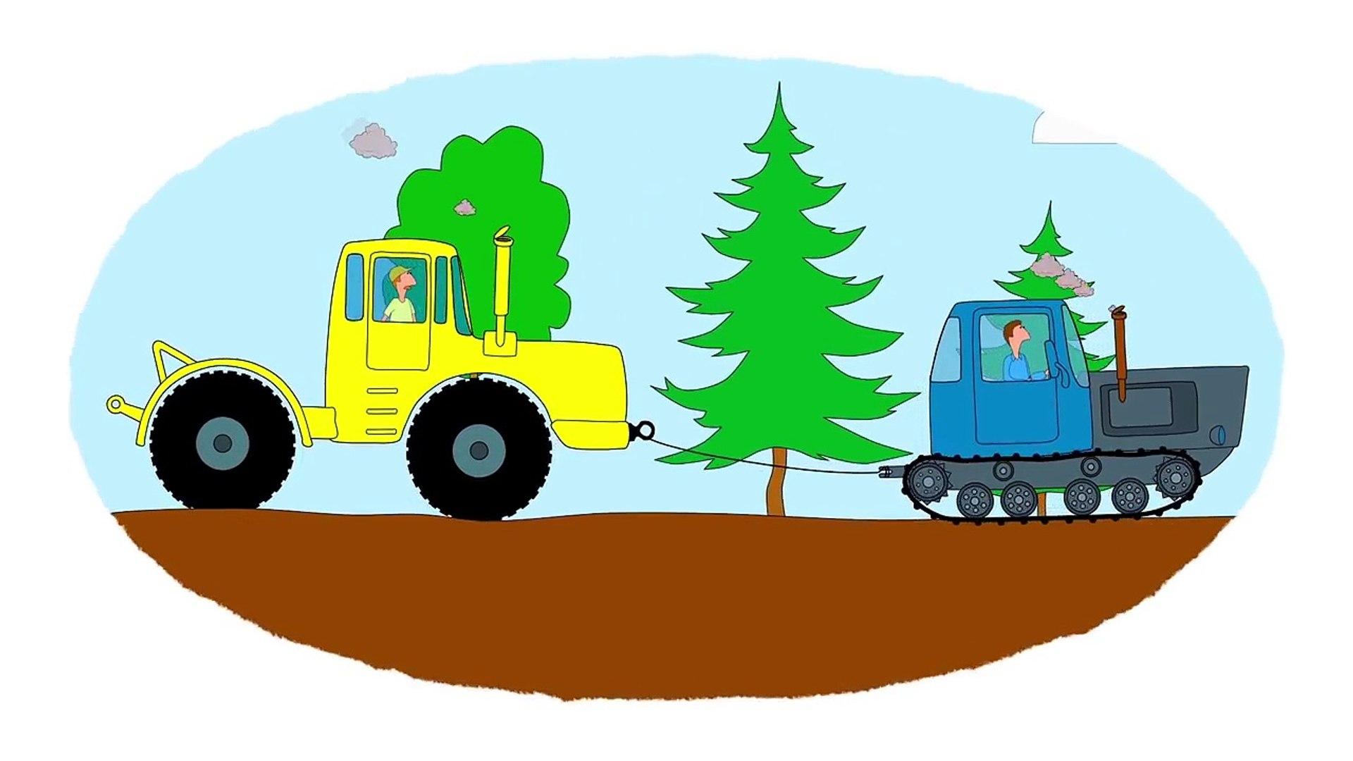 Zeichentrick Malbuch Farben Lernen Autos Traktoren Teil2