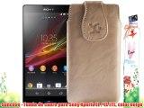Suncase - Funda de cuero para Sony Xperia ZL / ZL LTE color beige
