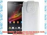 Suncase Original - Funda de piel para Sony Xperia ZL / ZL LTE diseño cocodrilo color blanco