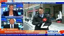 Preocupación en los precandidatos presidenciales por mal tiempo en New Hampshire a un día de las primarias