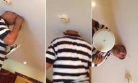 Electrician Gets His Head Stuck In The Ceiling