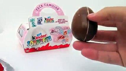 Kinder Surprise Eggs Unboxing Winx Club Familiar Pack