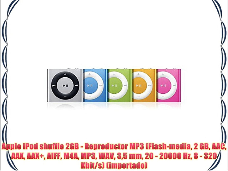 Apple iPod shuffle 2GB - Reproductor MP3 (Flash-media 2 GB AAC AAX AAX  AIFF M4A MP3 WAV 35