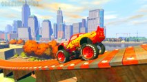 Lightning McQueen Monster Jam Mack Truck Disney cars jumping Happiness Ramp v2