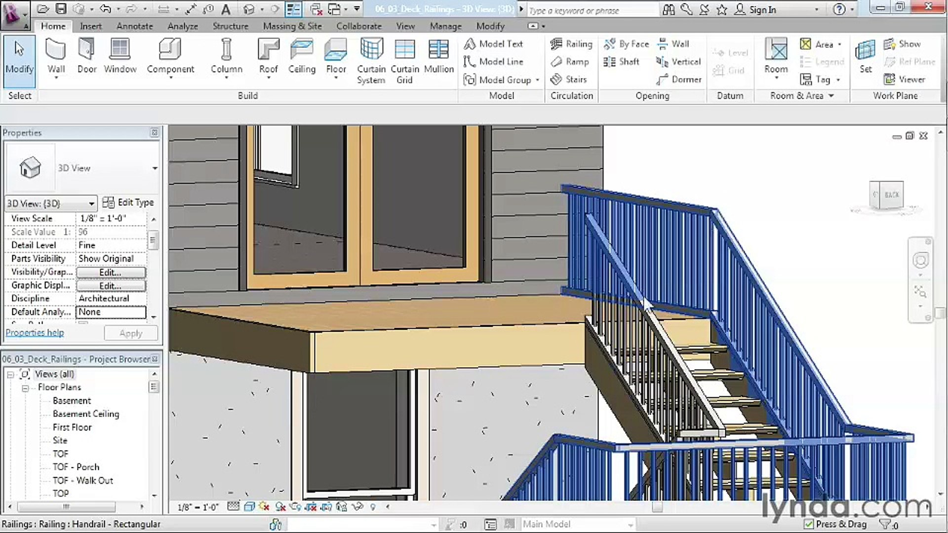 06 03  Creating deck railings - House in Revit Architecture