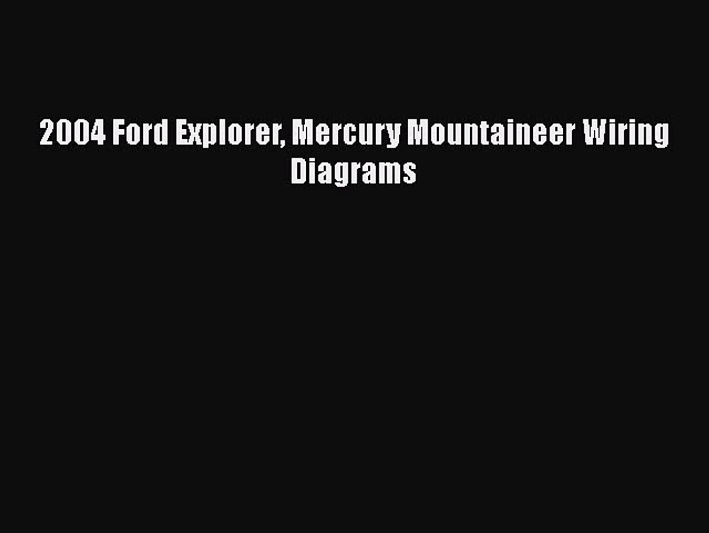 Pdf 2004 Ford Explorer Mercury Mountaineer Wiring Diagrams Free Books