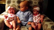 Confused baby meets Twins ! Cute !!!