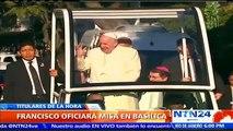 """""""Bienvenida su luz"""": Peña Nieto le da la bienvenida oficial al papa Francisco en el Palacio Nacional"""