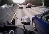 Une automobiliste renverse presque un motard policier et se fait arrêter
